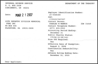 25th memorial fund irs 501c3 determination letter